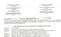 Concours d'entrée en 3e année du cursus de formation d'Ingénieur à l'Ecole Nationale Supérieure Polytechnique (ENSPM) de l'Université de Maroua au titre de l'année académique 2020-2021.