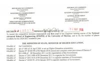 Concours d'entrée en 1ere année du cursus de formation d'Ingénieur de l'Ecole Nationale Supérieure Polytechnique (ENSPM) de l'Université de Maroua au titre de l'année académique 2020-2021